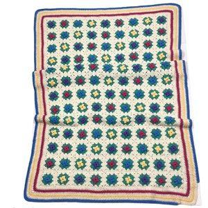 Vintage Crochet 3D Floral Granny Square Afghan